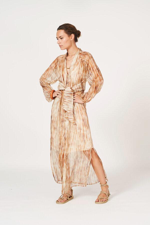 sukienka beżowa długa dante