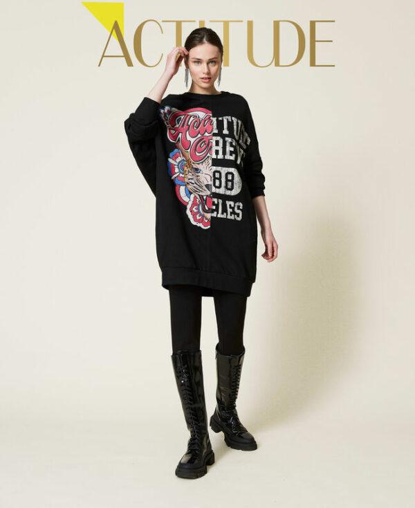 bluza czarna długa z popękanym nadrukiem twinset actitude