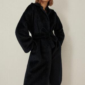 płaszcz wełniany z alpaki granatowy długi