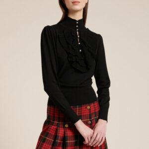 sweter z falbanami czarny luisa spagnoli