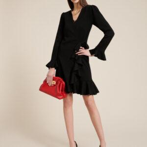 sukienka kopertowa czarna madir z wełny