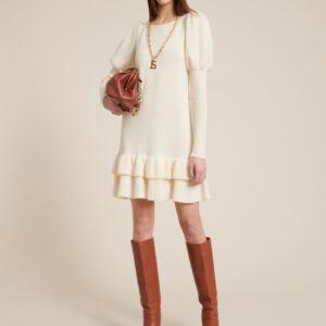sukienka dzianinowa kremnowa miraggi luisa spagnoli