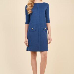 sukienka niebieska meticoloso z czystej wełny merynosów luisa spagnoli długosc w kolano
