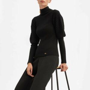 sweter czarny z półgolfem i pufKami luisa spagnoli