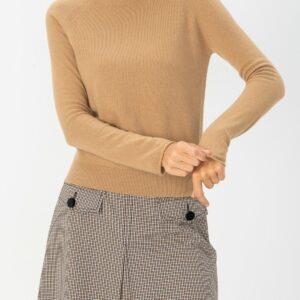 sweter z golfem z wełny marella beżowy