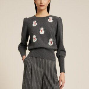 sweter z bałwankami luisa spagnoli szary