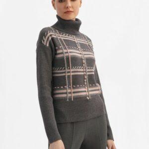sweter z golfem szary z różowym ściegiem luisa spagnoli