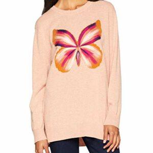 sweter pudrowy róz z nadrukiem motyla twinset