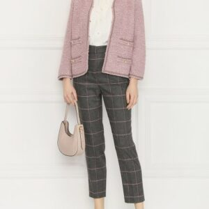 spodnie z domieszką wełny w kratę luisa spagnoli model odran